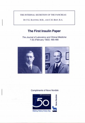 First Banting & Best Insulin Reprint, Front Cover